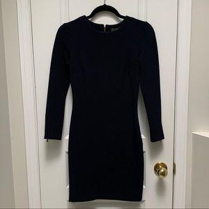 DYNAMITE | Navy Blue Dress w Gold Zipper Detail